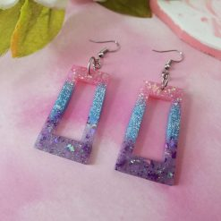 Pastel Pink, Blue and Purple Glitter Rectangle Earrings