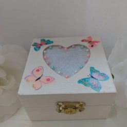 White/cream pearls and butterfly embellished small wooden heart jewellery or trinket box