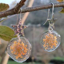 Starburst flower earrings ( orange)