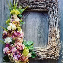 Beautiful hand made large rectangular wicker door wreath