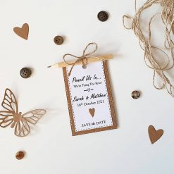 Rustic Save the Date's - Pencil Us In - Magnetic With Pencil and Envelope's x10