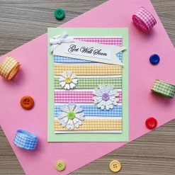 Get Well Soon Card Bright Gingham Design