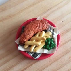 Fish and chips with mushy peas fridge magnet