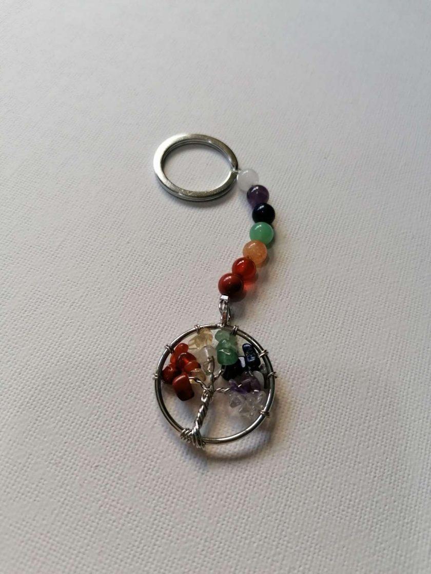 Rainbow Chakra Tree Of Life Key Chain