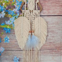 Macrame dream catcher, macrame feathers, beaded macrame wall hanging, rustic boho macrame (free p&p)