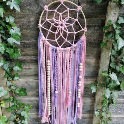 Pink and purple macrame dream catcher with beads great for girls bedroom (free p&p)