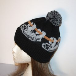 Grey Sloths on Black Beanie Hat, made with or without pompom - Teen to Adult unisex size