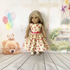 Pink Flowers  on yellow, 18 inch Doll Dress
