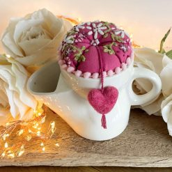 Ceramic Sewing Gift Organiser Pin Cushion Vintage Repurposed Scuttle Felted Heart Embroidered Button