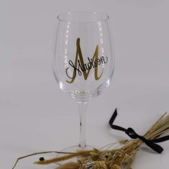 Handmade Personalised Wine Glass Decals - Initial + Name