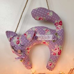 Cat Decoration Personalised Gift Hanging Home Decor Small Cotton Designer Fabrics Bell Bow Button