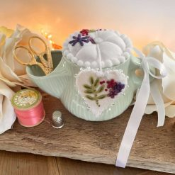 Pin Cushion Sewing Gift Embroidered CeramicVintage Style Keele Pottery Notions Tidy