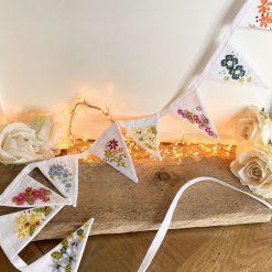 Floral Bunting Hand Embroidered Czech Glass Beads Hand Sewn Felt Art