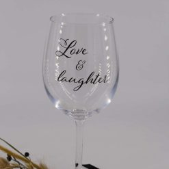 Handmade Personalised 'Love and laughter' Wine Glass Decals