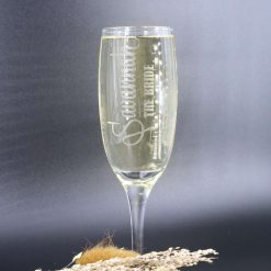 Handmade Personalised Etched Champagne Glass