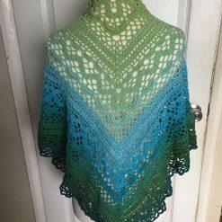 New handmade crocheted multi greens 75%cotton 25 acrylic shawl Triang