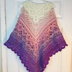 New handmade crocheted multi pink lilac purple 25% merino wool, acrylic shawl
