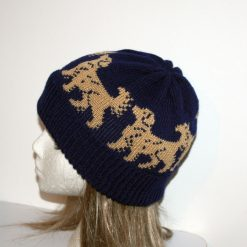 Golden Retrievers on Black Beanie Hat - with or without pompom option - teenager upto adult size
