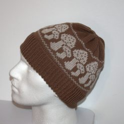 Chocolate Brown Beanie Hat with Taupe Toad Stools Mushrooms - with or without Pompom option - teenager to adult sizes