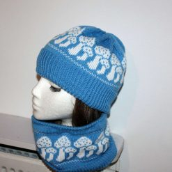Blue Beanie Hat and Neck Warmer White Toad Stools Mushrooms - with or without Pompom option - teenager to adult sizes