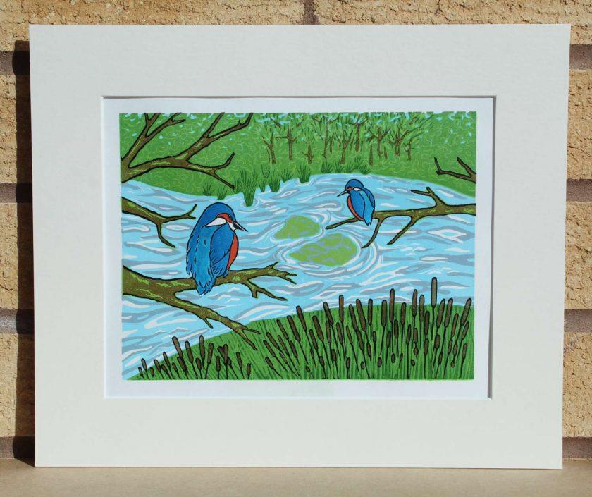 Kingfishers  - Original Lino Print by Sarah's Printing [sarahs printing]