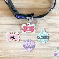 Heart personalised dog tag