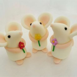 Mini mouse with single flower - glow in the dark - ornament - Valentine gift - cake topper - birthday - thank you present