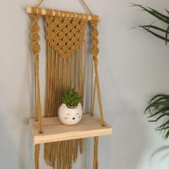 Mini Macramé Shelf Hanging in Mustard
