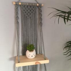 Mini Macramé Shelf Hanging in Pewter