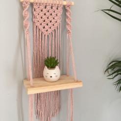 Mini Macramé Shelf Hanging in Blush