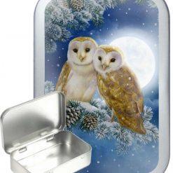 Conifer Owl Hinged Tin, Pocket Tin, Pill Tin, Sewing Tin, Storage Tin, 50ml Tin