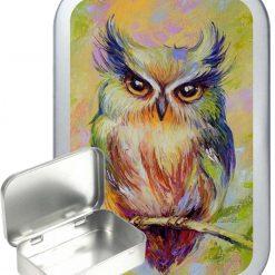 Owl Portrait Hinged Tin, Pocket Tin, Pill Tin, Sewing Tin, Storage Tin, 50ml Tin