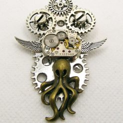 Steampunk Octopus Brooch, Cogs and Gears, Upcycled Watch Movement. Free UK Postage