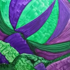 GREEN AND PURPLE PAINTING 36 x 24 INCH ORIGINAL ABSTRACT ON CANVAS (ORIGINAL ART DIRECT)