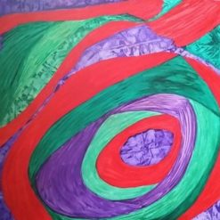 GREEN, RED AND PURPLE PAINTING 36 x 24 INCH ORIGINAL ABSTRACT ON CANVAS (ORIGINAL ART DIRECT)