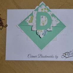 Corner bookmark with your initial (leaves)