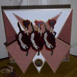 Can Can Ladies Triangle Fold Card - Any Occasion