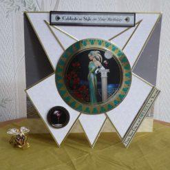 Retro Lady Triangle Fold Birthday Card