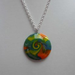 Galaxy Collection - Orange, Yellow, Green and Blue Swirl Round Pendant