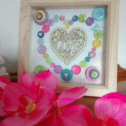 Wooden frame box with pastel couloured buttons, heart shaped home decor (free p&p)