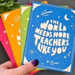 Colourful teacher appreciation /thank you handmade card | choice of 4 colours - pink, blue, green and orange