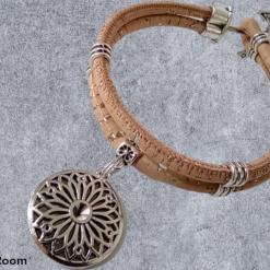 Geometric Flower Pendant Cork Bracelet with Anchor and slide closure. Vegan Friendly.
