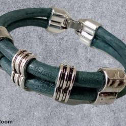 Metallic Teal Leather Double Loop Bracelet. Snap Closure.