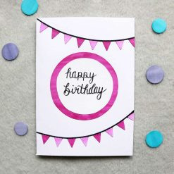 Blue / Pink Happy Birthday Greetings Card 1