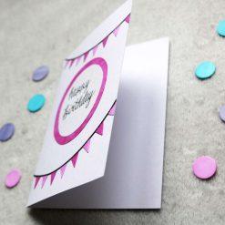 Blue / Pink Happy Birthday Greetings Card 3