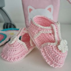 Baby girl spring/summer shoe sandal for everyday wear, special occasions, gift, keepsake. Crocheted by Hand