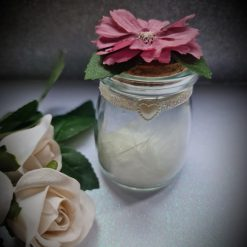Round glass Favour Jar- Purple flower with leaves
