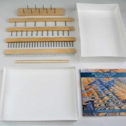 Marbling Paper Tool 5x Rakes, White Marbling Tray, Book: ''HOW TO USE RAKES WITH MARBLING 4 FUN'', 30 x A4 Marbling paper.