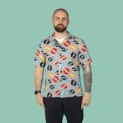 Retro Records themed men's casual shirt