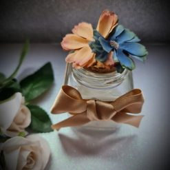 Round glass Favour Jar- Double flower